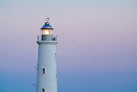 Illuminated lighthouse nearby the Playa Rancho Luna, Cienfuegos Bay, Cuba.