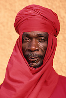 Agadez, Niger, West Africa.  Guard of the Sultan of Agadez. Portraits of Hausa ethnic group, men, women, children, of Niger.  Tell us what you need.