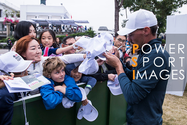 Paul Peterson of the United States signs autograph for the golf fansduring the day three of UBS Hong Kong Open 2017 at the Hong Kong Golf Club on 25 November 2017, in Hong Kong, Hong Kong. Photo by Marcio Rodrigo Machado / Power Sport Images