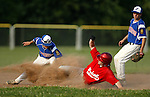 WOLCOTT, CT, 06 JULY 2011-070611JS06---Wolcott's Gregg Jackson safely steals second as Torrington Bryan Failla  is late with the tag during their American Legion game against Torrington Wednesday at Wolcott High School. Looking on is Torrington's Colin Neller. <br /> Jim Shannon/Republican-American