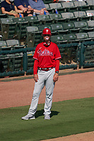 Philadelphia Phillies third base coach Dusty Wathan (62) during a Major League Spring Training game against the Baltimore Orioles on March 12, 2021 at the Ed Smith Stadium in Sarasota, Florida.  (Mike Janes/Four Seam Images)