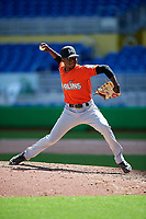 Miami Marlins pitcher C.J. Carter (59) delivers a pitch during a Florida Instructional League game against the Washington Nationals on September 26, 2018 at the Marlins Park in Miami, Florida.  (Mike Janes/Four Seam Images)