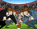 Businessmen playing rugby