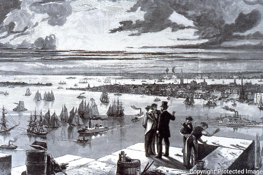 New York:  New York Harbor, 1873.  From Brooklyn Tower of Bridge.  Trinity Church Tower visible.  Photo '78.