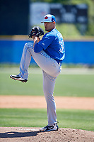 Toronto Blue Jays pitcher Denis Diaz (38) during a Minor League Spring Training Intrasquad game on March 14, 2018 at Englebert Complex in Dunedin, Florida.  (Mike Janes/Four Seam Images)