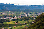 Italy, Alto Adige-Trentino, South Tyrol, Appiano sulla Strada del Vino: view from Castle Hoheneppan at districts S. Paolo and S. Michele | Italien, Suedtirol, Alto Adige-Trentino, Eppan an der Weinstrasse: Blick vom Schloss Hoheneppan auf die Ortsteile St. Pauls und St. Michael