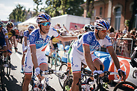 Thibaut Pinot (FRA/FDJ) thanking teammate Matthieu Ladagnous (FRA/FDJ) at the finish for escorting him safely through todays (flat) stage<br /> <br /> 100th Giro d'Italia 2017<br /> Stage 13: Reggio Emilia › Tortona (167km)