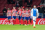 Atletico de Madrid Filipe Luis, Diego Godin, Antoine Griezmann, Angel Martin Correa, Koke Resurreccion and Thomas Partey celebrating a goal during La Liga match between Atletico de Madrid and Leganes at Wanda Metropolitano Stadium in Madrid , Spain. February 28, 2018. (ALTERPHOTOS/Borja B.Hojas)