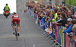 Wales' Elinor Barner tackles the climb up Montrose Street, Glasgow<br /> <br /> Photographer Chris Vaughan/Sportingwales<br /> <br /> 20th Commonwealth Games - Day 11 - Sunday 3rd August 2014 - Cycling - Road Race - Glasgow - UK