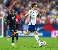 NASHVILLE, TN - SEPTEMBER 5: Josh Sargent #9 of the United States reacts to a referee's call during a game between Canada and USMNT at Nissan Stadium on September 5, 2021 in Nashville, Tennessee.