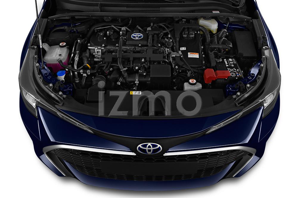 Car stock 2019 Toyota Corolla Touring Sports Premium 5 Door Wagon engine high angle detail view
