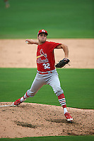 Palm Beach Cardinals pitcher Daniel Poncedeleon (32) delivers a pitch during the first game of a doubleheader against the Dunedin Blue Jays on August 2, 2015 at Florida Auto Exchange Stadium in Dunedin, Florida.  Palm Beach defeated Dunedin 4-1.  (Mike Janes/Four Seam Images)