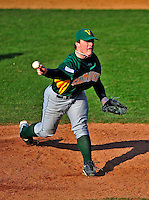 19 April 2009: University of Vermont Catamounts' right handed pitcher Leif Sorenson, a Freshman from Bradford, MA, on the mound against the University at Albany Great Danes at Historic Centennial Field in Burlington, Vermont. The Great Danes defeated the Catamounts 9-4 in the second game of a double-header. The Catamounts are playing their last season of baseball, as the program has been marked for elimination due to budgetary constraints on the University. Mandatory Photo Credit: Ed Wolfstein Photo