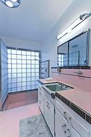 Bathroom of Palm Springs mid-century modernism 50's home Stock photo of master bath, en suite, bathroom