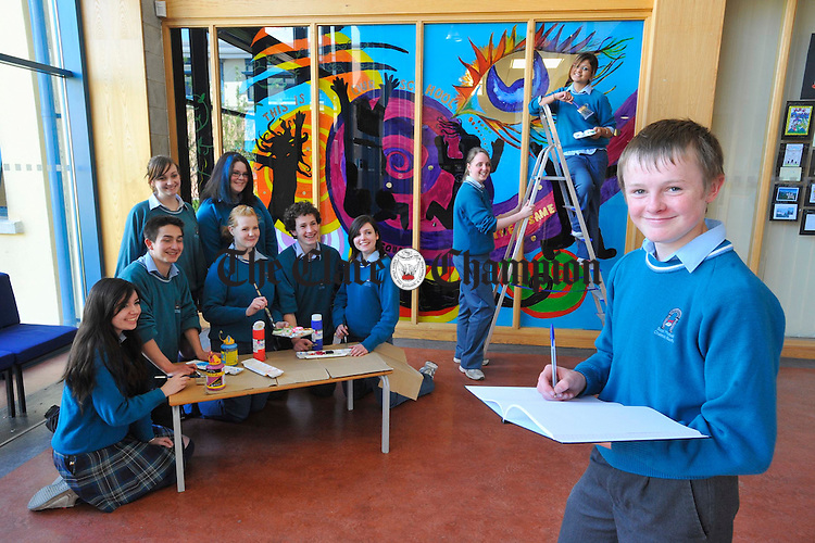 Students of St Caimins School, Shannon putting the finishing touches to their wall mural which celebrates cultural diversity. It was launched by  Dr Roland Tormey of UL  and the project was done under the guidance of teacher Ann Whitty. From left;  Tara Maxwell, Alex Bahmani, Celine O Connor, Shauna Kerin, Claire Kelly, James Moriarty, Laura Gannon, Estelle Miburgh, Manmeet Marwha and Conor Crosbie. Photograph by John Kelly