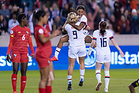 HOUSTON, TX - JANUARY 31: Jess McDonald #14 and Lindsey Horan #9 of the United States celebrate during a game between Panama and USWNT at BBVA Stadium on January 31, 2020 in Houston, Texas.