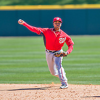 28 February 2016: Washington Nationals infielder Osvaldo Abreu in action during an inter-squad pre-season Spring Training game at Space Coast Stadium in Viera, Florida. Mandatory Credit: Ed Wolfstein Photo *** RAW (NEF) Image File Available ***