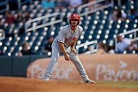 Chattanooga Lookouts Jonathan India (16) leads off during a Southern League game against the Birmingham Barons on July 24, 2019 at Regions Field in Birmingham, Alabama.  Chattanooga defeated Birmingham 9-1.  (Mike Janes/Four Seam Images)