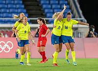 YOKOHAMA, JAPAN - AUGUST 6: Stina Blackstenius #11 of Sweden celebrates her goal during a game between Canada and Sweden at International Stadium Yokohama on August 6, 2021 in Yokohama, Japan.