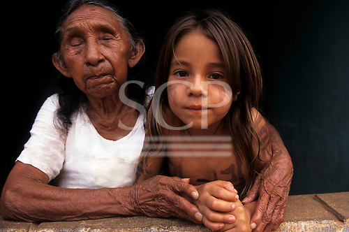 Altamira, Amazon, Brazil. Xipaya Indian, original inhabitants of Altamira, great grand mother and great grand daughter.
