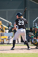 Chicago White Sox catcher Gunnar Troutwine (29) at bat during an Instructional League game against the Oakland Athletics at Lew Wolff Training Complex on October 5, 2018 in Mesa, Arizona. (Zachary Lucy/Four Seam Images)
