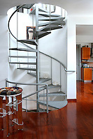 metal spiral staircase with decorations