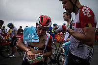 Team Lotto Soudal riders Caleb Ewan (AUS/Lotto Soudal) and Roger Kluge (GER/Lotto Soudal) post race grabbing for candy. <br /> <br /> Stage 15: Limoux to Foix Prat d'Albis (185km)<br /> 106th Tour de France 2019 (2.UWT)<br /> <br /> ©kramon