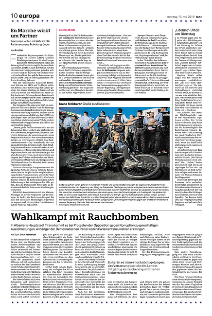 die tageszeitung taz (German daily) citing our photographers' views of the new European Parliament's agenda. Bucharest, Romania, 05.2019.<br /> Photo: Ioana Moldovan