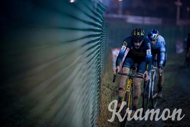 Toon Aerts (BEL/Telenet Fidea Lions) followe dclosely by CX World Champion Wout Van Aert (BEL/Cibel-Cebon)<br /> <br /> men's race<br /> 44th Superprestige Diegem (BEL) 2018<br /> ©kramon