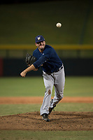 AZL Brewers relief pitcher Michael Mediavilla (25) follows through on his delivery during an Arizona League game against the AZL Cubs 1 at Sloan Park on June 29, 2018 in Mesa, Arizona. The AZL Cubs 1 defeated the AZL Brewers 7-1. (Zachary Lucy/Four Seam Images)
