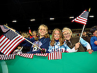 USA Fans. US Women's National Team vs Germany at Impuls Arena in Augsburg, Germany on October 27, 2009.
