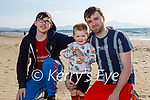Enjoying a stroll on Banna Beach on Thursday, l to r: William Smith, Gavin and Kallem Cotter.