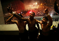 Soccer Football - Champions League - Round of 16 Second Leg - Paris St Germain v Borussia Dortmund - Parc des Princes, Paris, France - March 11, 2020  Paris St Germain's Presnel Kimpembe, Juan Bernat and Marquinhos celebrate their victory with their fans outside the stadium after the match    <br /> Photo Pool/Panoramic/Insidefoto