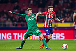 Saul Niguez Esclapez (R) of Atletico de Madrid fights for the ball with Aleksey Miranchuk of FC Lokomotiv Moscow during the UEFA Europa League 2017-18 Round of 16 (1st leg) match between Atletico de Madrid and FC Lokomotiv Moscow at Wanda Metropolitano  on March 08 2018 in Madrid, Spain. Photo by Diego Souto / Power Sport Images