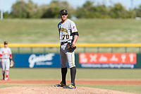 Surprise Saguaros relief pitcher Geoff Hartlieb (70), of the Pittsburgh Pirates organization, looks in for the sign during an Arizona Fall League game against the Mesa Solar Sox at Sloan Park on November 15, 2018 in Mesa, Arizona. Mesa defeated Surprise 11-10. (Zachary Lucy/Four Seam Images)