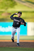 Kannapolis Intimidators relief pitcher Wilber Perez (10) in action against the Hickory Crawdads at Kannapolis Intimidators Stadium on May 6, 2019 in Kannapolis, North Carolina. The Crawdads defeated the Intimidators 2-1 in game one of a double-header. (Brian Westerholt/Four Seam Images)