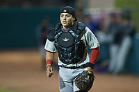 Hickory Crawdads catcher David García (13) on defense against the Greensboro Grasshoppers at First National Bank Field on May 6, 2021 in Greensboro, North Carolina. (Brian Westerholt/Four Seam Images)