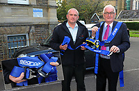Pictured L-R: Carmarthenshire County Council lead trading standards officer Aled Thomas, and member for public protection Cllr Jim Jones with one of the fake Sparco harnesses sold by Finbar Hannaford<br /> Re: A man has admitted selling fake harnesses to amateur and semi-professional racing car drivers at Swansea Crown Court this week.<br /> Finbar Hannaford, aged 22, from Pembrey, sold more than 300 of the enhanced seatbelt systems before Carmarthenshire County Council's trading standards officers stepped in.<br /> The counterfeit harnesses bearing the Sabelt, Sparco and Takata brand names, were sold on eBay and Facebook, amongst a range of counterfeit car accessories and clothing.