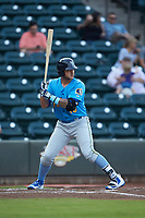 Tyler Alamo (13) of the Myrtle Beach Pelicans at bat against the Winston-Salem Dash at BB&T Ballpark on August 6, 2018 in Winston-Salem, North Carolina. The Dash defeated the Pelicans 6-3. (Brian Westerholt/Four Seam Images)