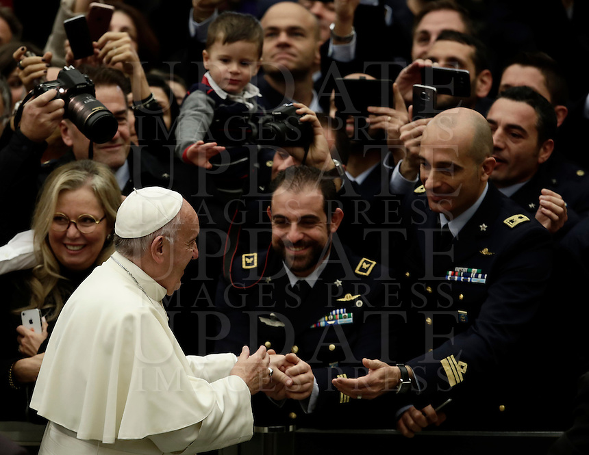 Pope Francis greats faithful as he arrives to lead  his weekly general audience in Paul VI hall at the Vatican on November 30, 2016. <br /> UPDATE IMAGES PRESS/Isabella Bonotto<br /> <br /> STRICTLY ONLY FOR EDITORIAL USE