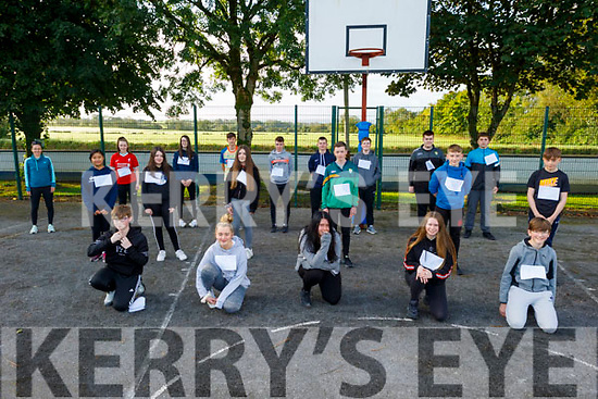 Castleisland Community College students getting ready for their 5k walk at the college on Tuesday morning