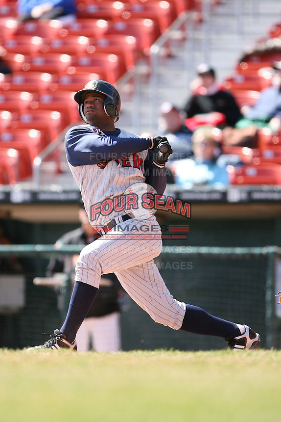 April 14th, 2008:  Henry Mateo (4) of the Toledo Mudhens, Class-AAA affiliate of the Detroit Tigers, during a game at Dunn Tire Park in Buffalo, NY.  Photo by:  Mike Janes/Four Seam Images