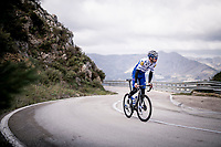 Kasper Asgreen (DEN/Deceuninck - QuickStep) training up the Coll de Rates during the january 2020 Team Deceuninck-QuickStep training camp in Calpe, Spain<br />  <br /> ©kramon
