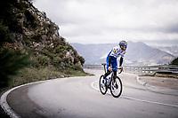 Kasper Asgreen (DEN/Deceuninck - QuickStep) training up the Coll de Rates during the january 2020 Team Deceuninck-QuickStep training camp in Calpe, Spain<br />  <br /> ©kramon