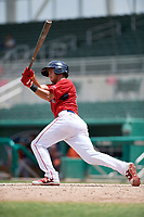 GCL Red Sox first baseman Keibert Petit (71) follows through on a swing during a game against the GCL Orioles on August 9, 2018 at JetBlue Park in Fort Myers, Florida.  GCL Red Sox defeated GCL Orioles 10-4.  (Mike Janes/Four Seam Images)