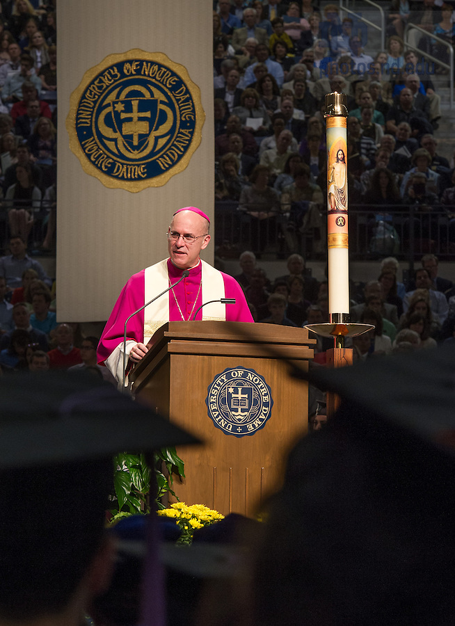 May 17, 2014; 2014 Bishop Kevin C. Rhoades speaks after the 2014 Commencement Mass. Photo by Matt Cashore/University of Notre Dame
