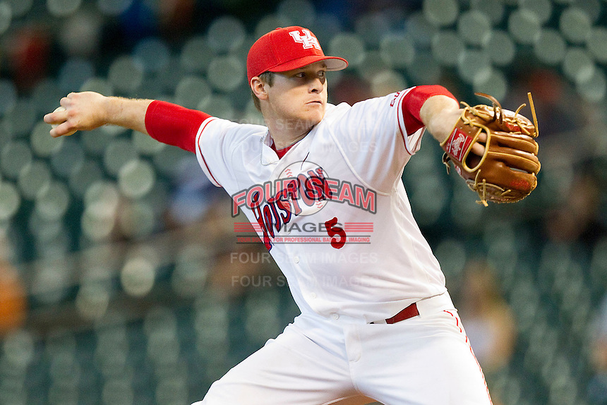 Codey Morehouse #5 of the Houston Cougars in action against the Arkansas Razorbacks at Minute Maid Park on March 3, 2012 in Houston, Texas.  The Cougars defeated the Razorbacks 4-1.  Brian Westerholt / Four Seam Images
