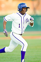 Sly Edwards (1) of the High Point Panthers hustles down the first base line against the Liberty Flames at Willard Stadium on March 23, 2013 in High Point, North Carolina.  The Panthers defeated the Flames 9-3.  (Brian Westerholt/Four Seam Images)
