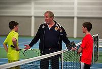 Rotterdam, The Netherlands, 07.03.2014. NOJK ,National Indoor Juniors Championships of 2014,   Freek van Donselaar(NED)   Björn Vermeulen (NED) with umpire Peter van den Hoven<br /> Photo:Tennisimages/Henk Koster