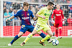 Francisco Portillo Soler of Getafe CF (R) fights for the ball with Lucas Digne of FC Barcelona (L) during the La Liga 2017-18 match between FC Barcelona and Getafe FC at Camp Nou on 11 February 2018 in Barcelona, Spain. Photo by Vicens Gimenez / Power Sport Images